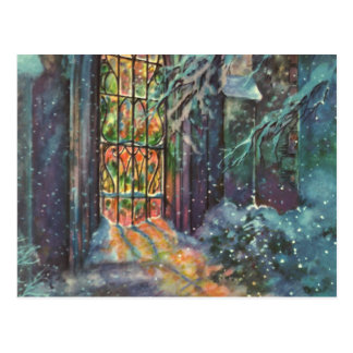 Vintage Christmas, Stained Glass Window in Church Postcard
