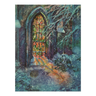 Vintage Christmas Stained Glass Window in Church Poster