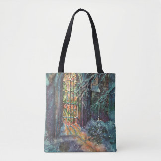 Vintage Christmas, Stained Glass Window in Church Tote Bag