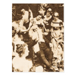 Vintage Christmas Stereoview Santa and the Ladies Postcard