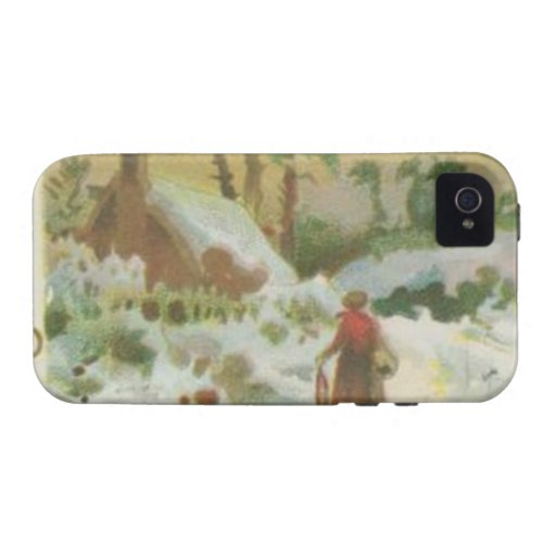 Vintage Christmas Stitching and Christmas Greeting Case-Mate iPhone 4 Case