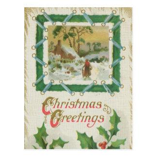 Vintage Christmas Stitching and Christmas Greeting Postcard