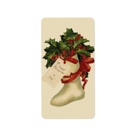 Vintage Christmas Stocking Gift Tag Avery Label