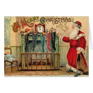 Vintage Christmas Stockings Card