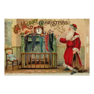 Vintage Christmas Stockings Poster