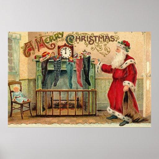 Vintage Christmas Stockings Poster