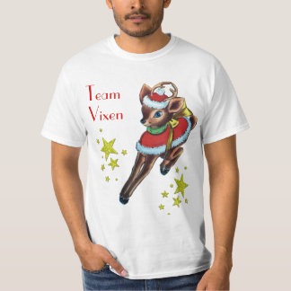 vintage christmas team vixen reindeer tshirt