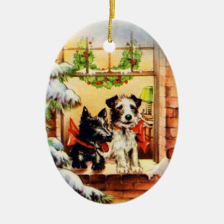 Vintage Christmas Terrier Dog Ceramic Oval Decoration