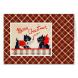 Vintage Christmas Terrier Dog Greeting Card