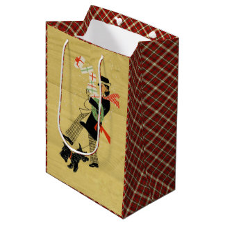 Vintage Christmas Terrier Dog Medium Gift Bag