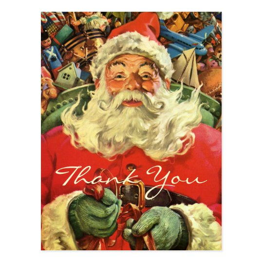 Vintage Christmas Thank You Postcard