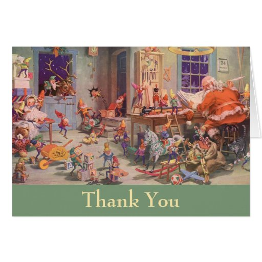 Vintage Christmas Thank You Stationery Note Card