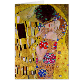 Vintage Christmas, The Kiss by Gustav Klimt Greeting Card