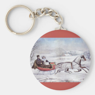 Vintage Christmas, The Road Winter, Sleigh Horse Basic Round Button Key Ring