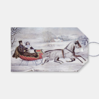 Vintage Christmas, The Road Winter, Sleigh Horse Gift Tags