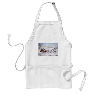 Vintage Christmas, The Road Winter, Sleigh Horse Standard Apron