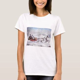 Vintage Christmas, The Road Winter, Sleigh Horse T-Shirt