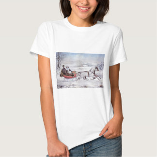 Vintage Christmas, The Road Winter, Sleigh Horse T-shirts