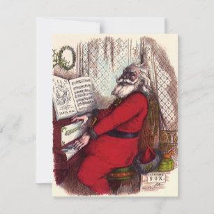 Vintage Christmas, Thomas Nast Santa Claus Piano Holiday Card