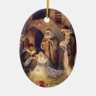 Vintage Christmas, Three Shepherds and Baby Jesus Christmas Ornament