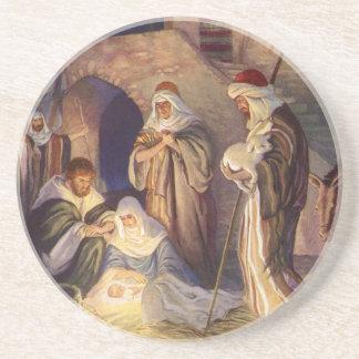 Vintage Christmas, Three Shepherds and Baby Jesus Coaster