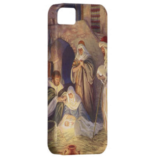 Vintage Christmas, Three Shepherds and Baby Jesus iPhone 5 Cases