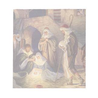 Vintage Christmas, Three Shepherds and Baby Jesus Notepad