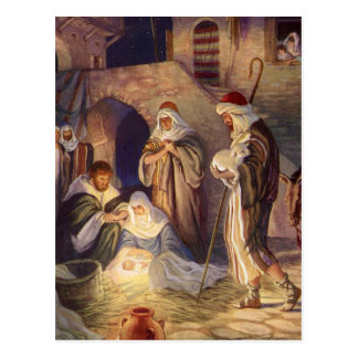 Vintage Christmas, Three Shepherds and Baby Jesus Postcard