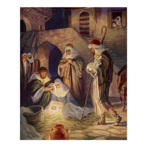 Vintage Christmas, Three Shepherds and Baby Jesus Poster