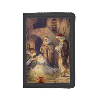 Vintage Christmas, Three Shepherds and Baby Jesus Trifold Wallet