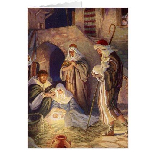 Vintage Christmas, Three Shepherds and Jesus Greeting Card