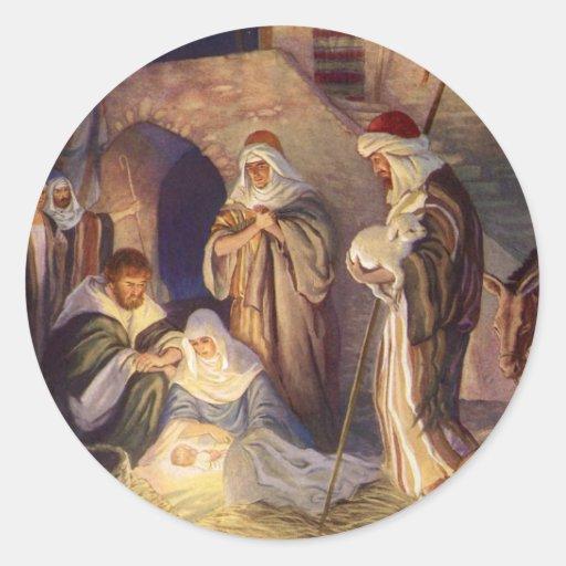 Vintage Christmas, Three Shepherds and Jesus Sticker