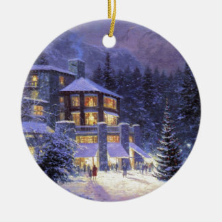 Vintage Christmas Time At The Mall Round Ceramic Decoration