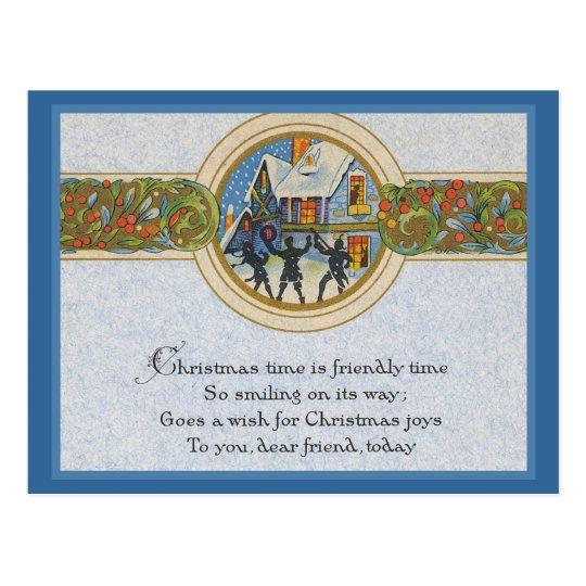 Vintage Christmas Time Postcard