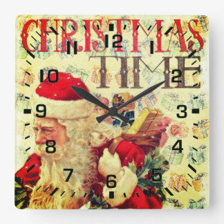 Vintage Christmas Time Santa Claus Square Wall Clock
