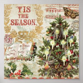 Vintage Christmas Tis the Season Poster
