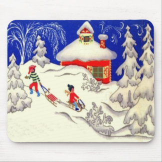 Vintage Christmas, Tobogganing on the hill Mouse Pad
