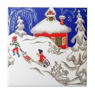 Vintage Christmas, Tobogganing on the hill Ceramic Tiles