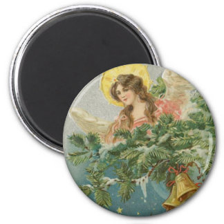 Vintage Christmas Town Angel 6 Cm Round Magnet