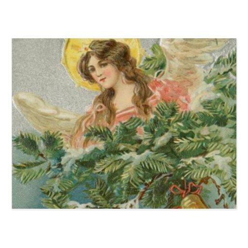 Vintage Christmas Town Angel Postcard