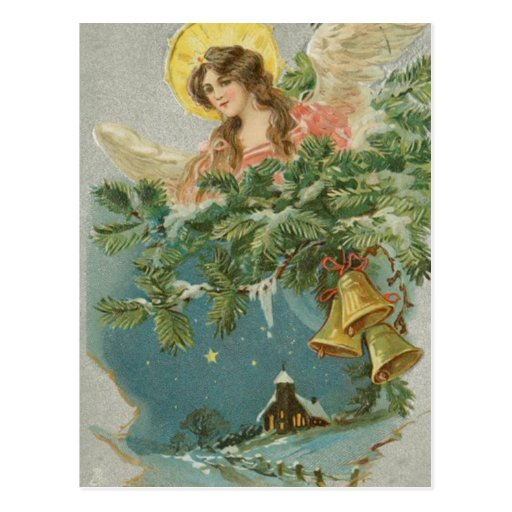 Vintage Christmas Town Angel Post Cards