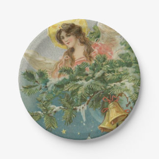 Vintage Christmas Town Angel 7 Inch Paper Plate