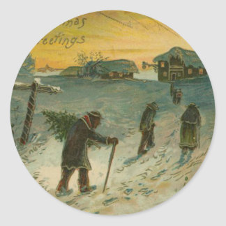Vintage Christmas Town Classic Round Sticker
