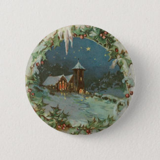 Vintage Christmas Town with Children 6 Cm Round Badge