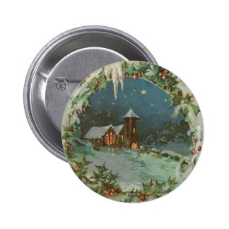Vintage Christmas Town with Children Pinback Buttons