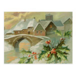 Vintage Christmas Town with Holly Postcard
