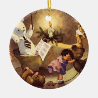 Vintage Christmas Toys, Dancing Dolls, Teddy Bears Round Ceramic Decoration