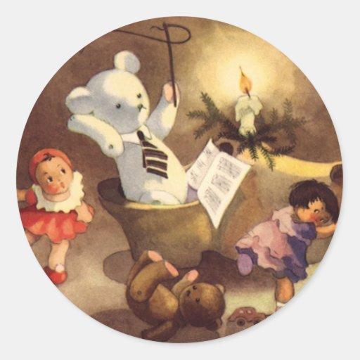 Vintage Christmas Toys Dancing, Teddy Bears, Dolls Round Sticker