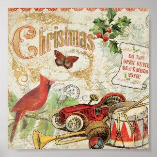 Vintage Christmas Toys Poster