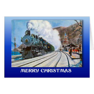 Vintage Christmas, Train in a snowy station Greeting Card